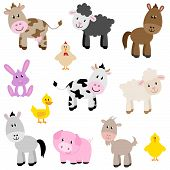 stock photo of baby pig  - Vector Set of Cute Adorable Farm Animals - JPG