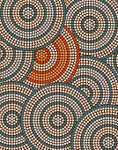 image of aborigines  - A illustration based on aboriginal style of dot painting depicting circle background - JPG
