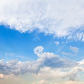 foto of stratus  - cloudscape with stratus clouds in blue sky in spring evening - JPG