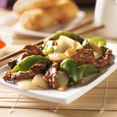 Chinese food - Pepper beef at restaurant closeup