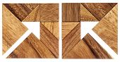 image of tangram  - two abstract pictures of an arrow built from seven tangram wooden pieces - JPG