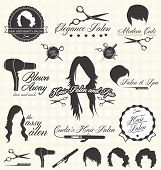 stock photo of wig  - Collection of retro style hair salon labels and icons - JPG