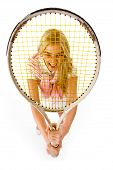 Active Sport - Smiling Young Woman With Tennis Racket