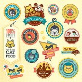 stock photo of paw  - Set of labels and stickers for animals food - JPG