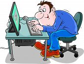 pic of clip-art staff  - Man working on his computer - JPG