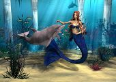 stock photo of dolphin  - 3D digital render of a cute mermaid and dolphin on blue fantasy ocean background - JPG
