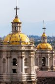 stock photo of guadalupe  - Twin spires of the old Basilica of our Lady of Guadalupe - JPG