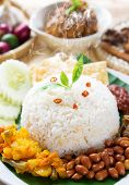 pic of ayam  - Nasi lemak traditional malaysia spicy rice dish - JPG