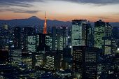 picture of mount fuji  - The city of Tokyo at dusk with Mount Fuji in the background - JPG
