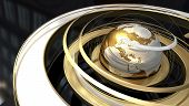 Abstract image of a world globe with spiral orbit in golden texture