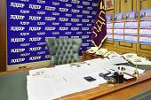 MOSCOW - OCT 6: Table in personal office of Vladimir Zhirinovsky in State Duma, Oct 6, 2012, Moscow,
