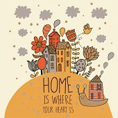 picture of garden snail  - Home concept card - JPG