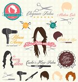 stock photo of hair comb  - Collection of vintage style hair salon labels and icons - JPG