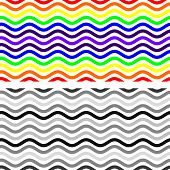 stock photo of curvy  - Curvy Seamless Pattern in Monochrome and Rainbow Colors - JPG