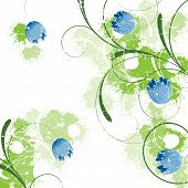 picture of green-blue  - Spring blue background with flowers and swirls - JPG