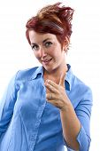 image of gotcha  - young redhead woman with generic gestures and facial expressions - JPG