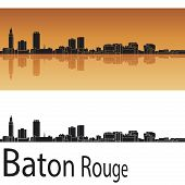Baton Rouge Skyline In Orange Background