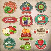 stock photo of cherries  - Collection of vintage retro grunge fresh fruit labels - JPG