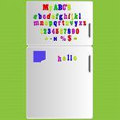 image of verbs  - Vector Fridge with magnet alphabet spelling ABC letters and numbers illustrations and note - JPG