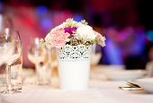 stock photo of banquet  - Beautiful floral wedding table decoration at wedding reception - JPG
