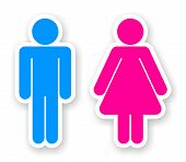 stock photo of gender  - stickers of man and woman toilet symbols - JPG