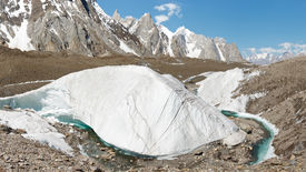stock photo of skardu  - Huge ice formation at the mighty Baltoro Glacier Karakorum Range Pakistan - JPG