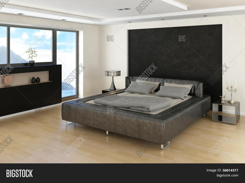 Moderne slaapkamer interieur met grijze bed met lakens en groot ...
