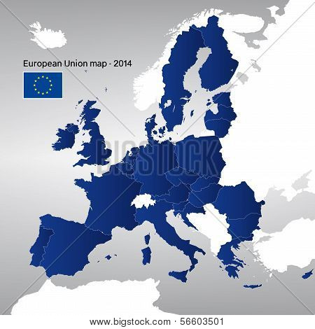 The European Union map 2014. Vector.