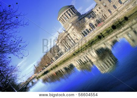 River Liffey and Four Courts building in Dublin - Irish capital city landmark