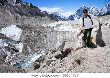 Hiker standing in the Khumbu Valley with the Himalayan Mountain Range in background near Gorak Shep in the Sagarmatha (Mount Everest) National Park in Nepal