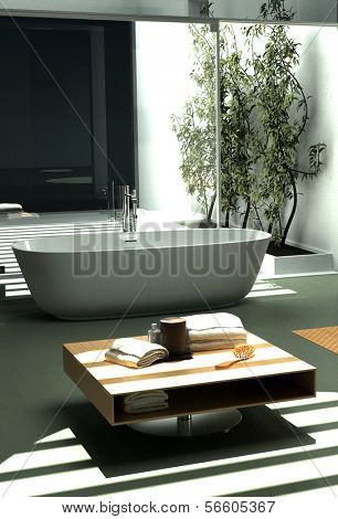 Modern industrial design bathroom with nice light ambience