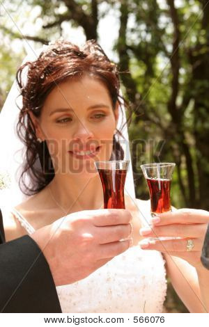 Glasses Of Wine With Bride