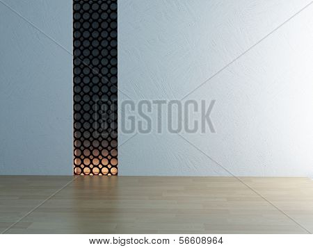 Empty white room interior with background lighting and wooden floor