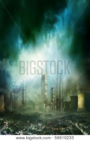 Composición de ciudad futurista con enorme fábrica cubierta de nubes oscuras y contaminación