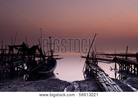Fishing Boat With Sunrise Background
