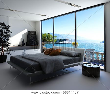 Fantastic bedroom interior with grey bed with bedsheets against huge window with panoramic view