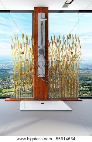 Awesome nature style bathroom interior with shower cubicle. Room is decorated with reeds / cattails