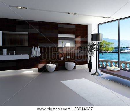 Ultramodern bathroom interior with luxury furniture and nice lake view