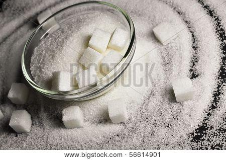 Refined white sugar in a bowl