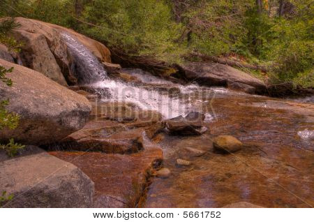 Small Sierra Waterfall Forest Background