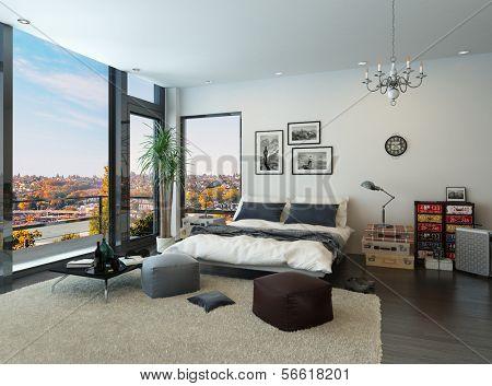 Interior de dormitorio moderno con grandes ventanales y muebles vintage