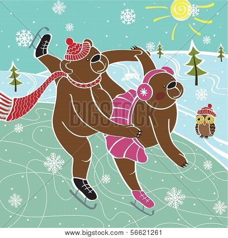 Two Brown Bears Skaters Skated.Vector humorous Illustration