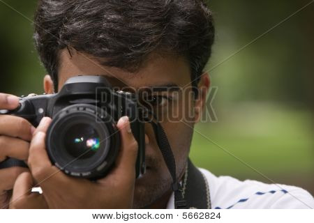Close-up of Photographer