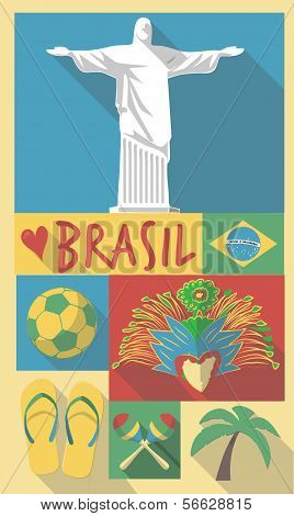 vector illustration set of famous cultural symbols of brazil on a poster or postcard
