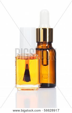 Natural Oils For Beauty Care On White Background.