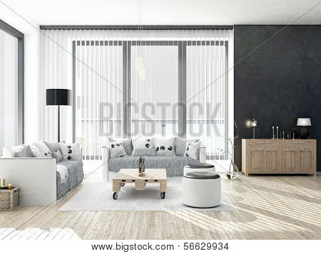 Blanco y negro coloreada Living comedor con ventanales