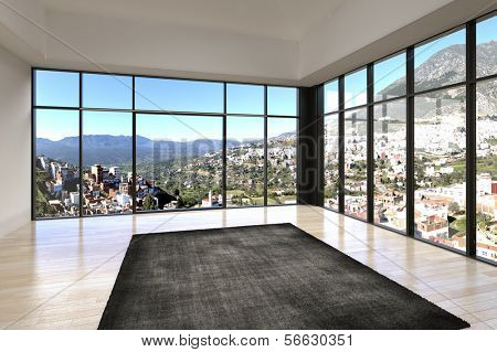 Empty room interior with floor to ceiling windows and scenic view