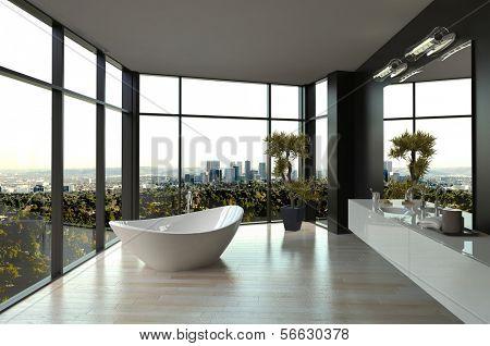 Interior de casa de banho de luxo branco