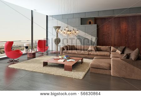 Modern wooden living room interior with couch and two red armchairs