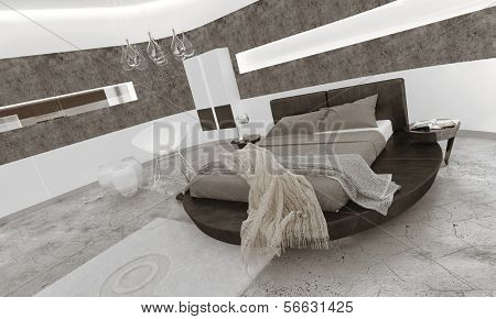 Bedroom interior with black king-size bed